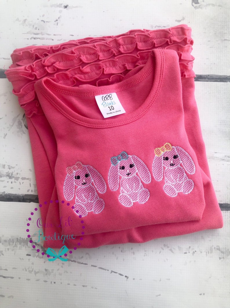 Floppy Bunny Easter Trio Shirt - Girls Personalized Easter Dress