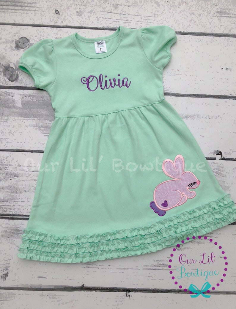Easter Bunny Dress - Girls Personalized Easter Dress
