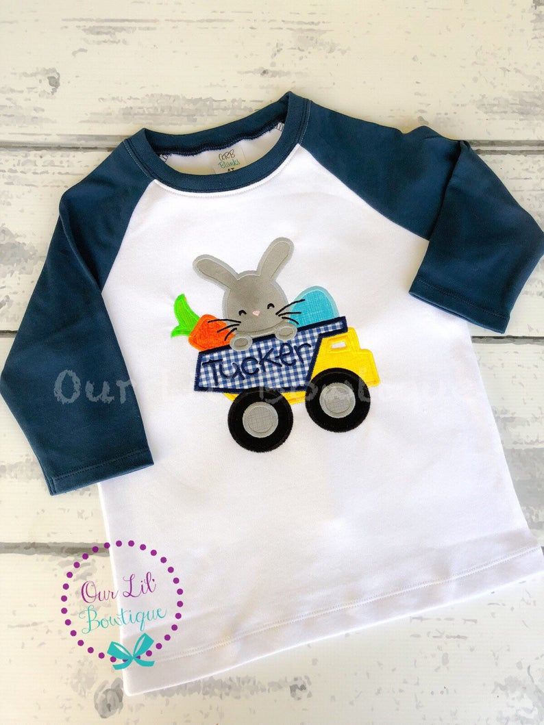 Easter Dump Truck Shirt - Boys Personalized Easter Shirt