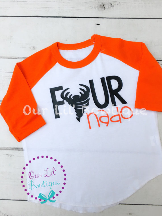 Four Nado Birthday Shirt- Personalized Birthday - Personalized - Birthday Shirt - Birthday - 4th Birthday - fournado Birthday Shirt -Raglan