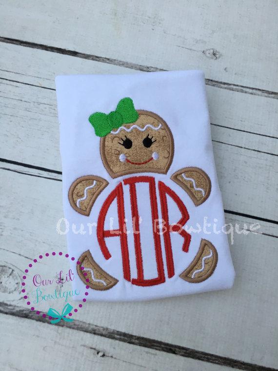 Gingerbread Christmas Shirt - Girls Christmas Dress - Gingerbread Shirt - Christmas Applique Dress - Christmas Applique Shirt - Gingerbread