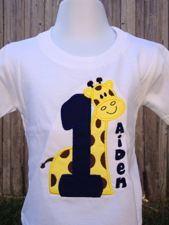 Personalized Giraffe Birthday Shirt