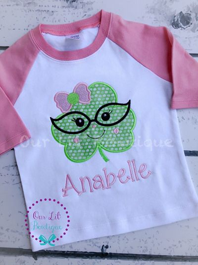 GIRLS ST PATRICK'S DAY SHIRT - CLOVER SHIRT