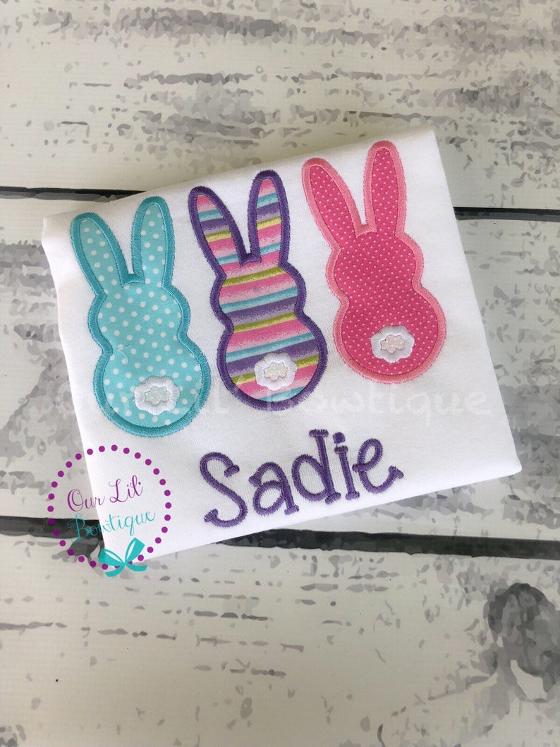Girls Bunny Trio - Personalized Easter Shirt