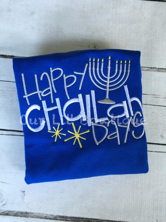 Happy Challah Days - Girls Hanukkah Shirt - Girl - Hanukkah Shirt - Applique - Embroidery