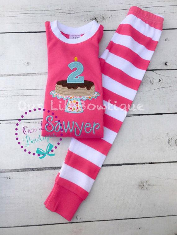 Pancake personalized Birthday Shirt - Pancake Personalized PJs - Personalized Pancake Shirt - Pancake Birthday - Pancake Applique - Hot Pink