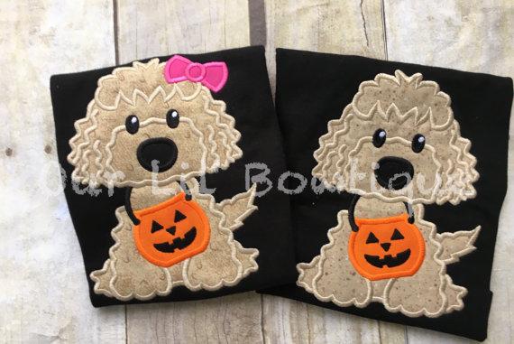 Dog Halloween Shirt - Girl Halloween Shirt - Dog Shirt - Halloween Shirt - Pumpkin Applique - Dog Applique - Puppy Halloween - Boy Halloween