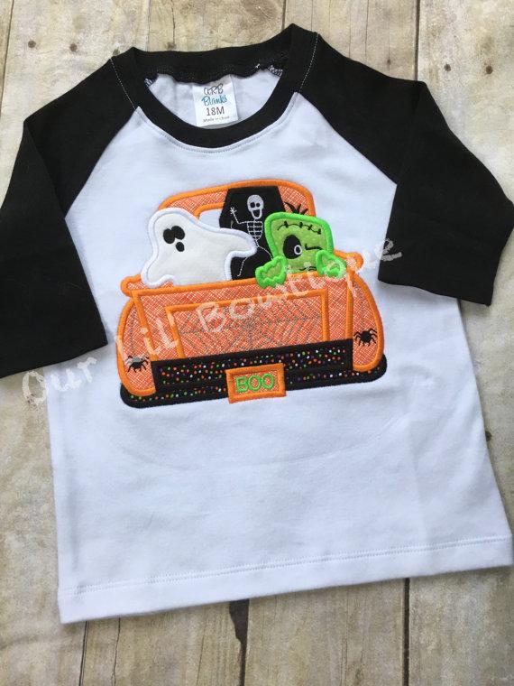 Halloween Truck Shirt - Personalized Halloween Shirt - Boy Halloween Shirt - Monogram Truck - Ghost Truck - Raglan