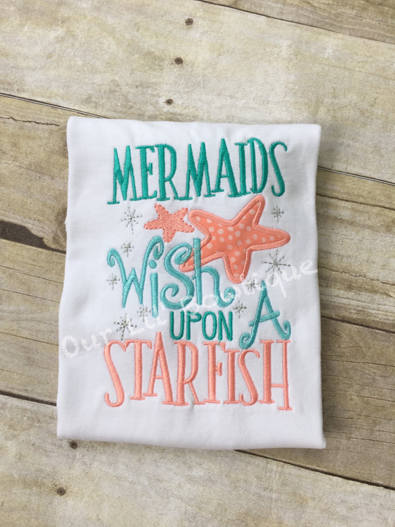 Mermaid Outfit - Mermaids Wish Upon A Starfish- Ruffle Bloomers - Mermaid - Onesie - Girls - Baby Gift - Mermaid Ruffle Shir