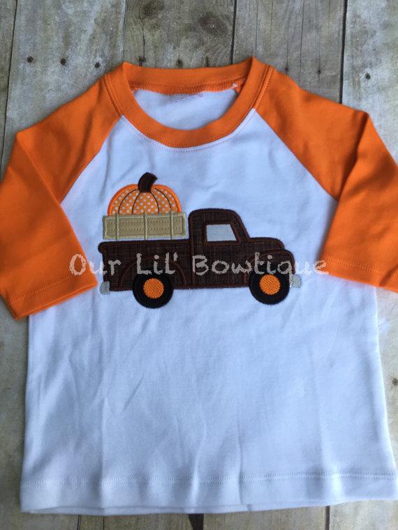 Pumpkin Truck Shirt - Thanksgiving Shirt - Thanksgiving Truck - Personalized Halloween Shirt - Boy Halloween Shirt- Raglan