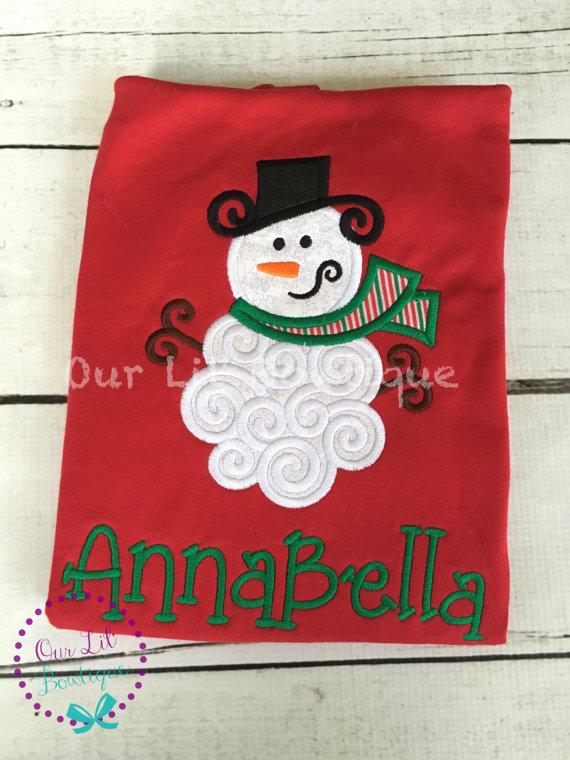 Personalized Snowman Shirt - Personalized Christmas Shirt - Snowman Face - Personalized Shirt - Girls Snowman Shirt - Boys Snowman Shirt