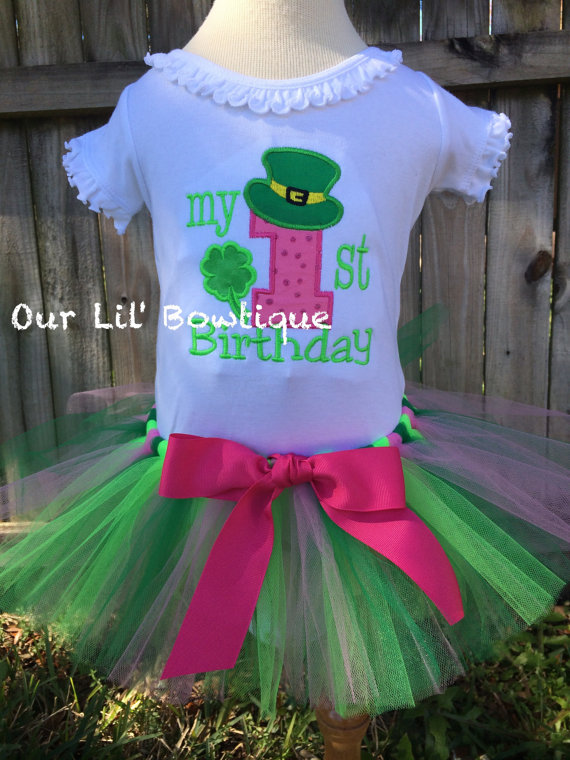 Shamrock Birthday - My 1st Birthday Day Shirt - St. Pat's Day Shirt - Personalized St. Patricks Shirt - Girl -Babies 1st St. Pats - Applique