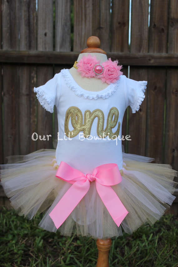 One Birthday Shirt- Personalized Birthday Shirt - 1st Birthday Outfit - Tutu - First Birthday - Gold 1 - Pink and Gold - Cursive One