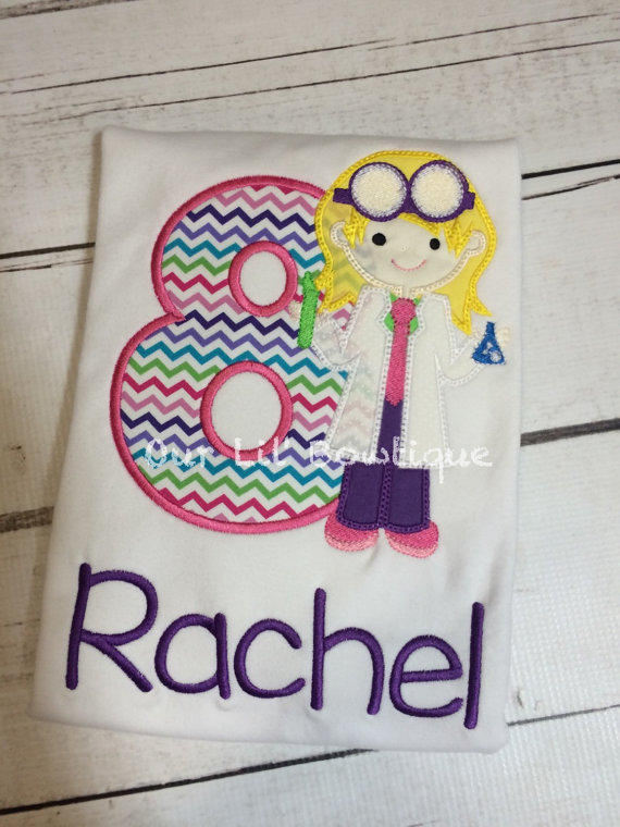 Scientist Birthday Shirt- Personalized Birthday Shirt - Personalized Scientist - Birthday Outfit - Science Birthday - Girl Scientist