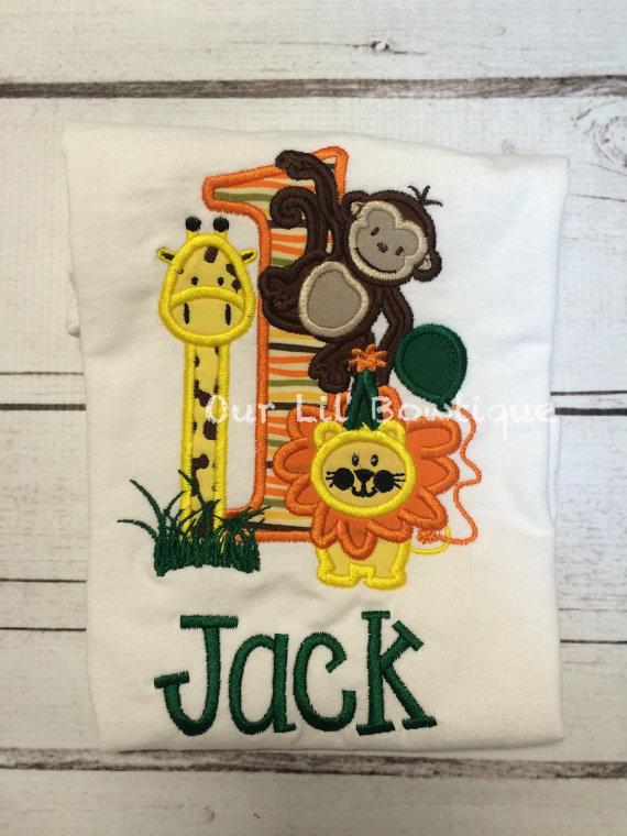 Jungle Birthday Shirt - Zoo Birthday Shirt- Boy - Toddler -Personalized T- Shirt or Onesie- Birthday - Monkey - Giraffe -Lion