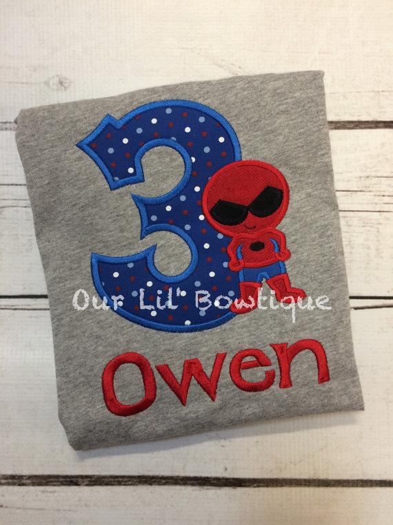 Spiderman Inspired Birthday Shirt - Spiderman Shirt - Superhero Birthday - Personalized Birthday Shirt - Boy