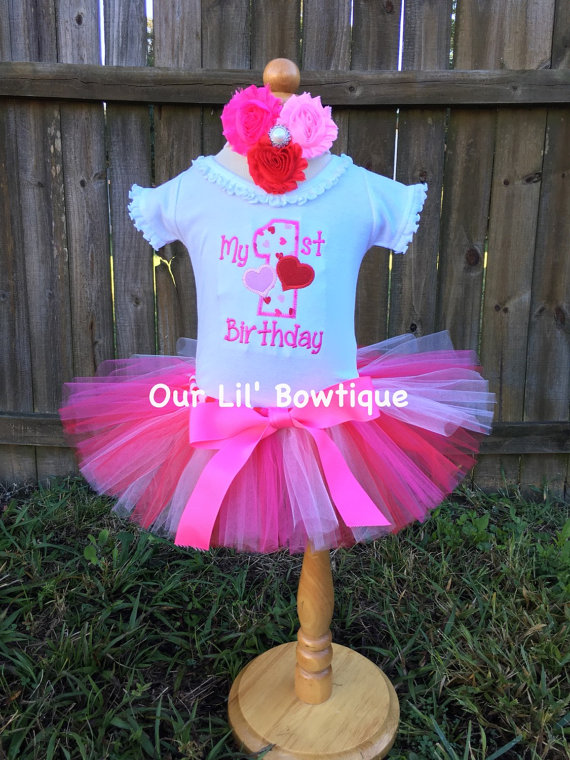 Valentine Birthday - My 1st Birthday Day Shirt - Valentine Shirt - Personalized Valentine Shirt - Girl - Babies 1st Valentines - Applique