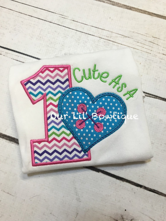 Cute As A Button - Cute As A Button Birthday Shirt - Birthday Shirt - First Birthday -Tutu - Birthday Outfit - Button -Girl