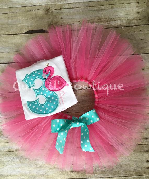 Flamingo Birthday Shirt - Let's Flamingle -Personalized Birthday Shirt - Personalized Flamingo - 1st Birthday Outfit - Tutu - Pink - Aqua