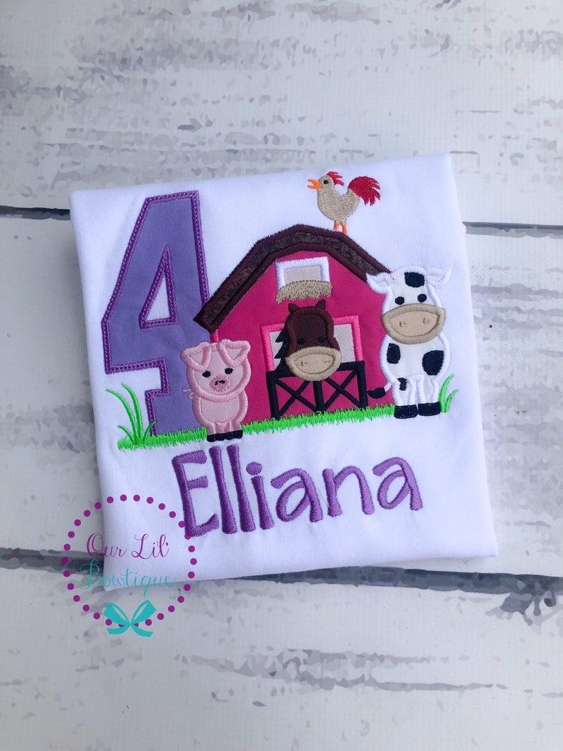 Farm Birthday Shirt - Girls Lavender and Pink Farm Shirt