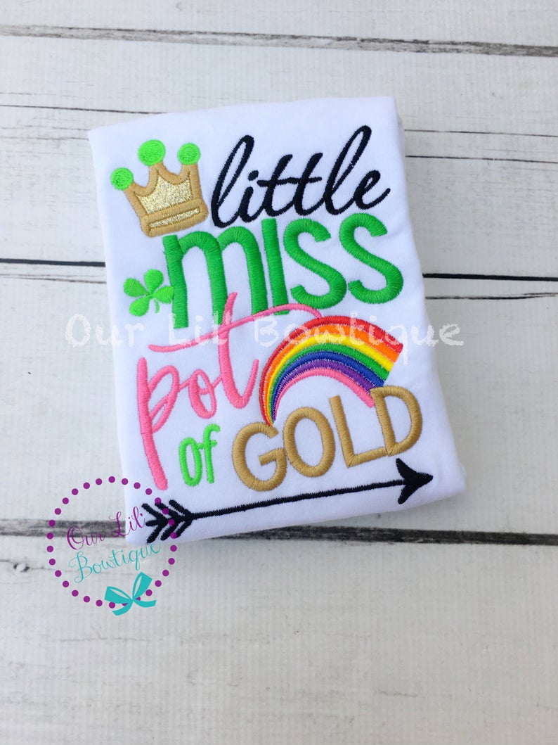 St Patricks Day Shirt - Little Miss Pot Of Gold Shirt
