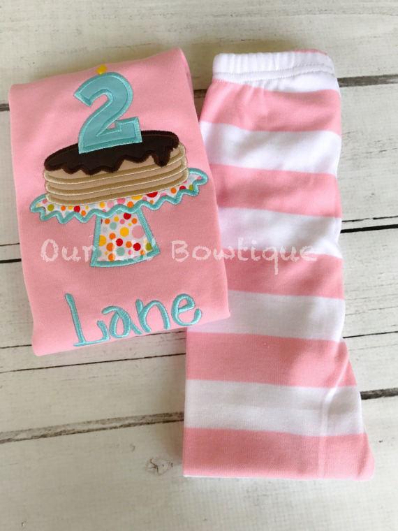 Pancake personalized Birthday Shirt - Pancake Personalized PJs - Personalized Pancake Shirt - Pancake Birthday -Pancake Applique -Light Pink