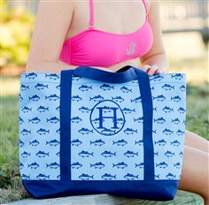 Fish - Personalized Tote Bag - Striped Bag - Large Tote Bag - Personalized - Monogrammed - Beach Bag - Kids Personalized Tote Bag - Boys
