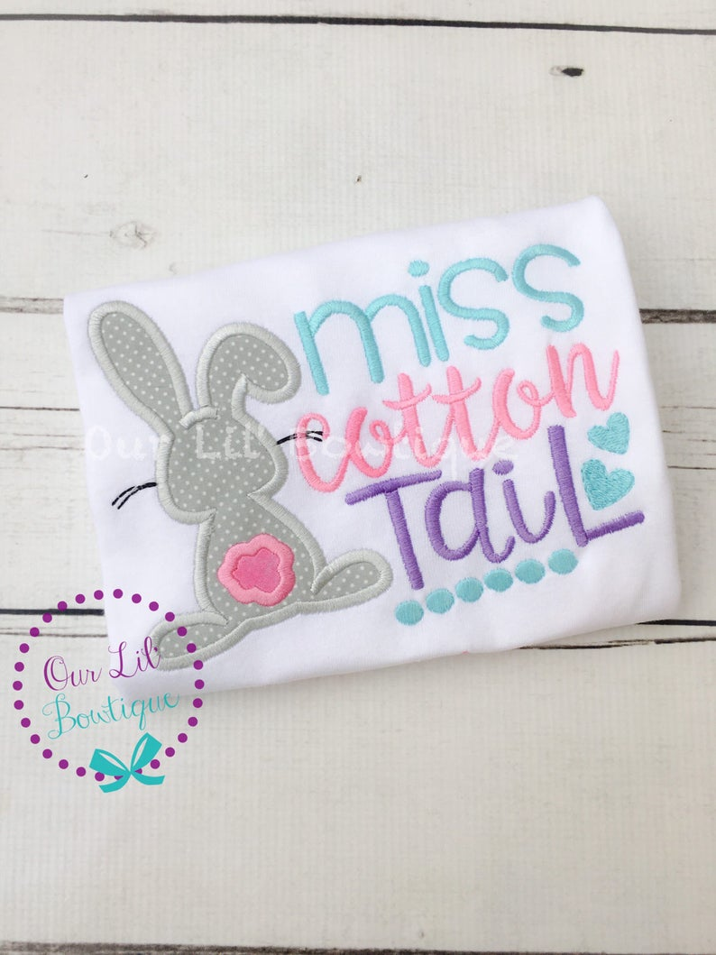 Little Miss Cotton Tail - Girls Personalized Easter Shirt