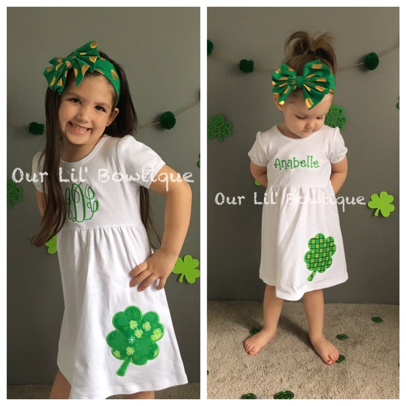 St Patricks Day Dress - Four Leaf Clover Dress