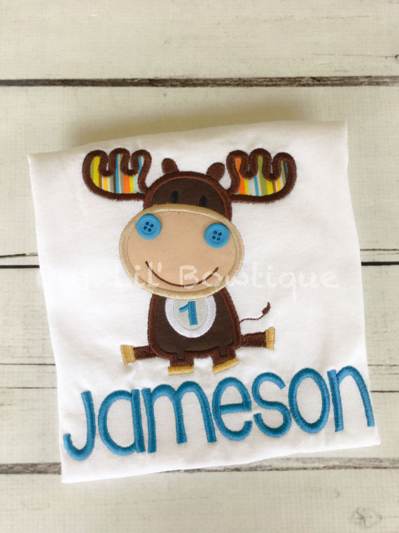 Moose Shirt - Boy's Moose Birthday Shirt - Girl's Moose Birthday Shirt - Personalized Shirt - Woodland - Woodland Birthday - Moose Birthday