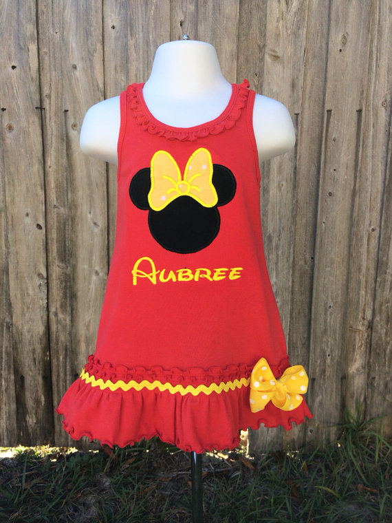 Minnie Birthday Dress - Mouse Birthday Dress - Minnie Dress - Dress - Red and Yellow