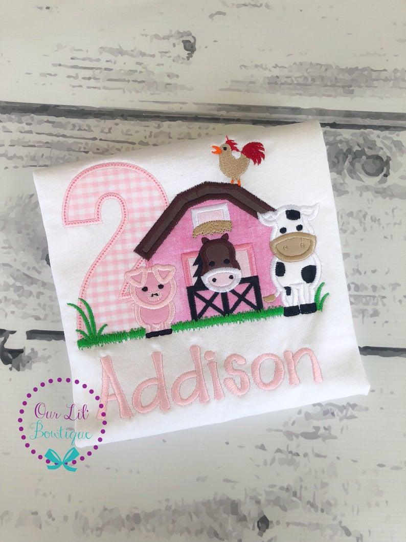 Farm Birthday Shirt - Girls Pink Gingham Birthday Shirt