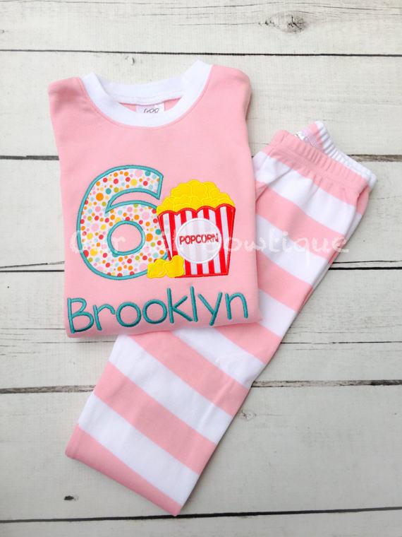 Popcorn and Pajamas - Popcorn Birthday Shirt - Popcorn Personalized PJs - Personalized Popcorn Shirt - Movie Birthday - Movie Birthday Shirt