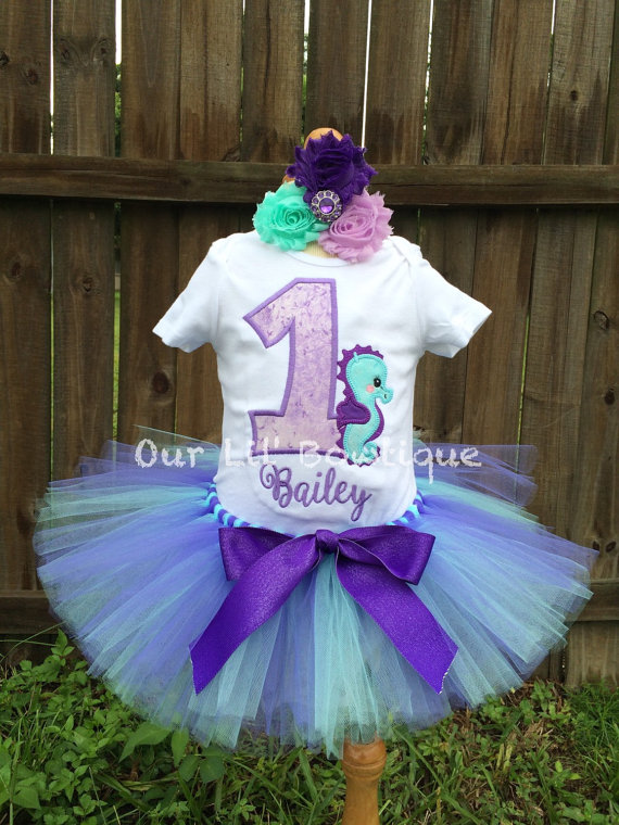 Seahorse Birthday Shirt- Personalized Birthday Shirt - Personalized Seahorse - 1st Birthday Outfit - Tutu - Lavender & Aqua - Under the Sea