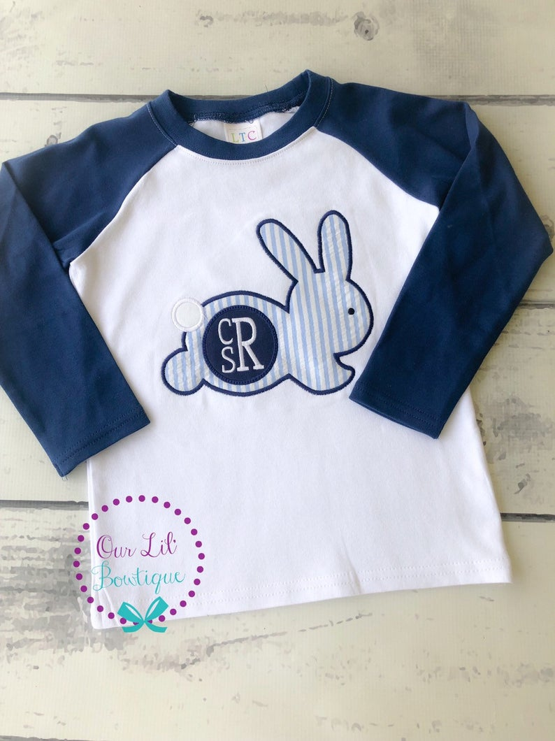 Easter Monogram - Bunny Silhouette Shirt - Boys Personalized Easter Shirt