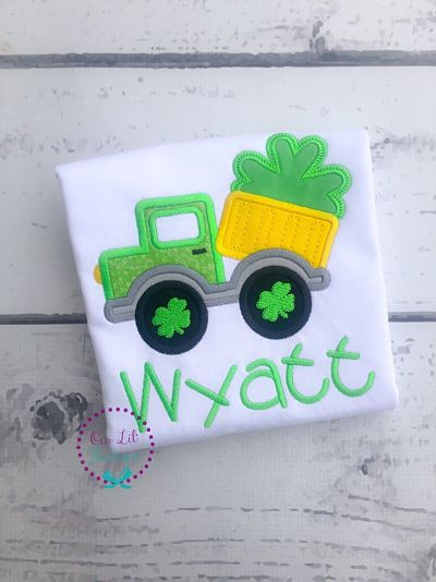 St Patricks Day Dump Truck Shirt - Boys Personalized Shamrock Shirt