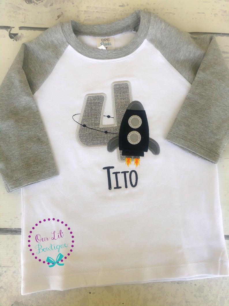 Rocket Ship Shirt - Boys Personalized Birthday Shirt - Black/Grey