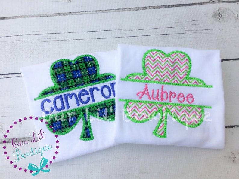 Kids St Patrick's Day Shirt - Split Shamrock - Sibling St. Patrick's Day Shirt