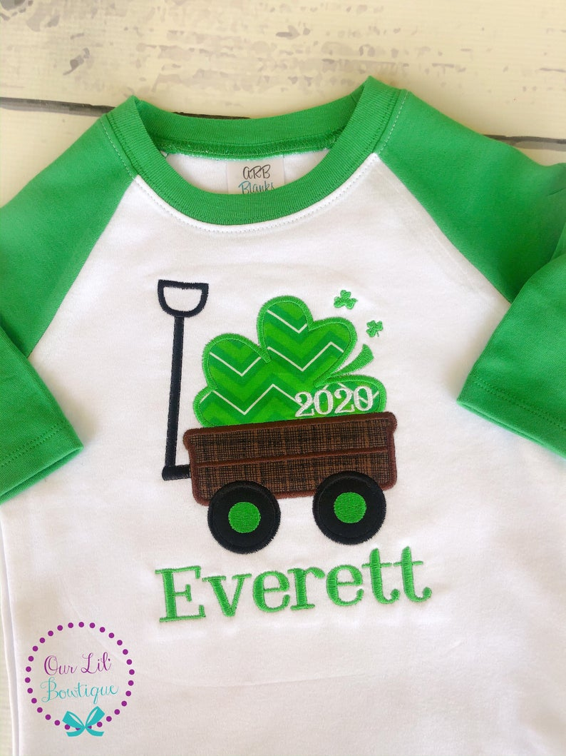 St Patricks Day Wagon Shirt - Boys Personalized St. Patricks Day Shirt