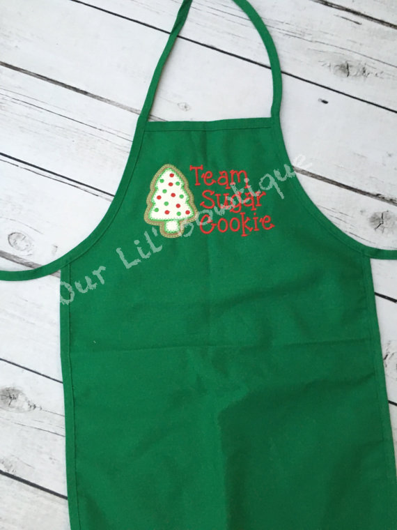 Team Sugar Cookie Apron - Personalized Apron - Personalized Sugar Cookie - Personalize Kids Apron - Personalized Christmas Apron