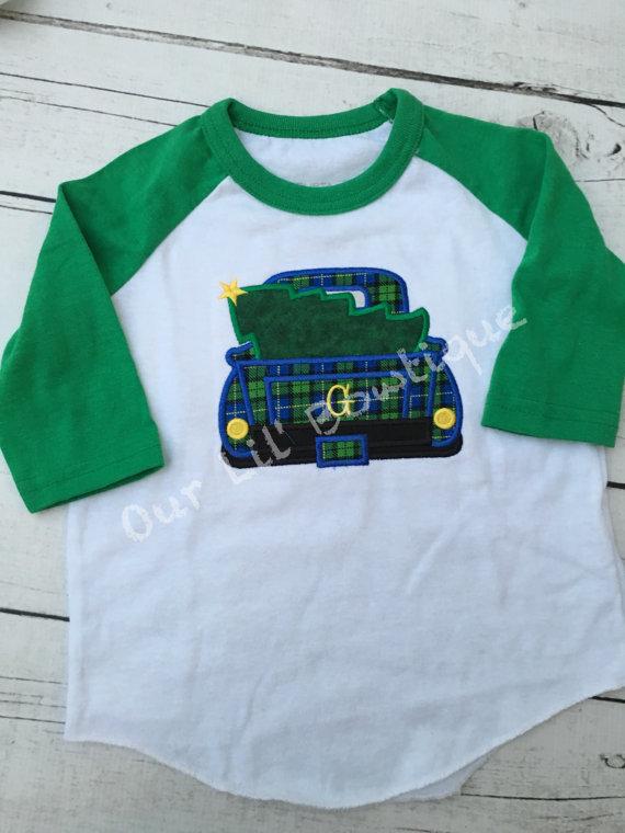 Old Christmas Truck - Boy's Christmas Truck- Christmas Tree - Boy- Girl - Toddler - Infant - Baby - Personalized Shirt - Raglan