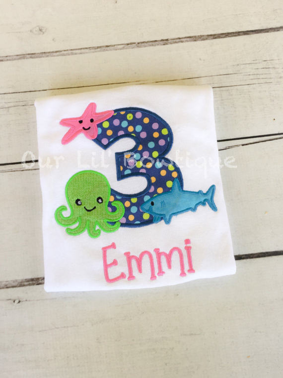 Under The Sea Personalized Birthday Shirt - Personalized Birthday - Personalized Under The Sea - Girls Under The Sea - Octopus - Shark