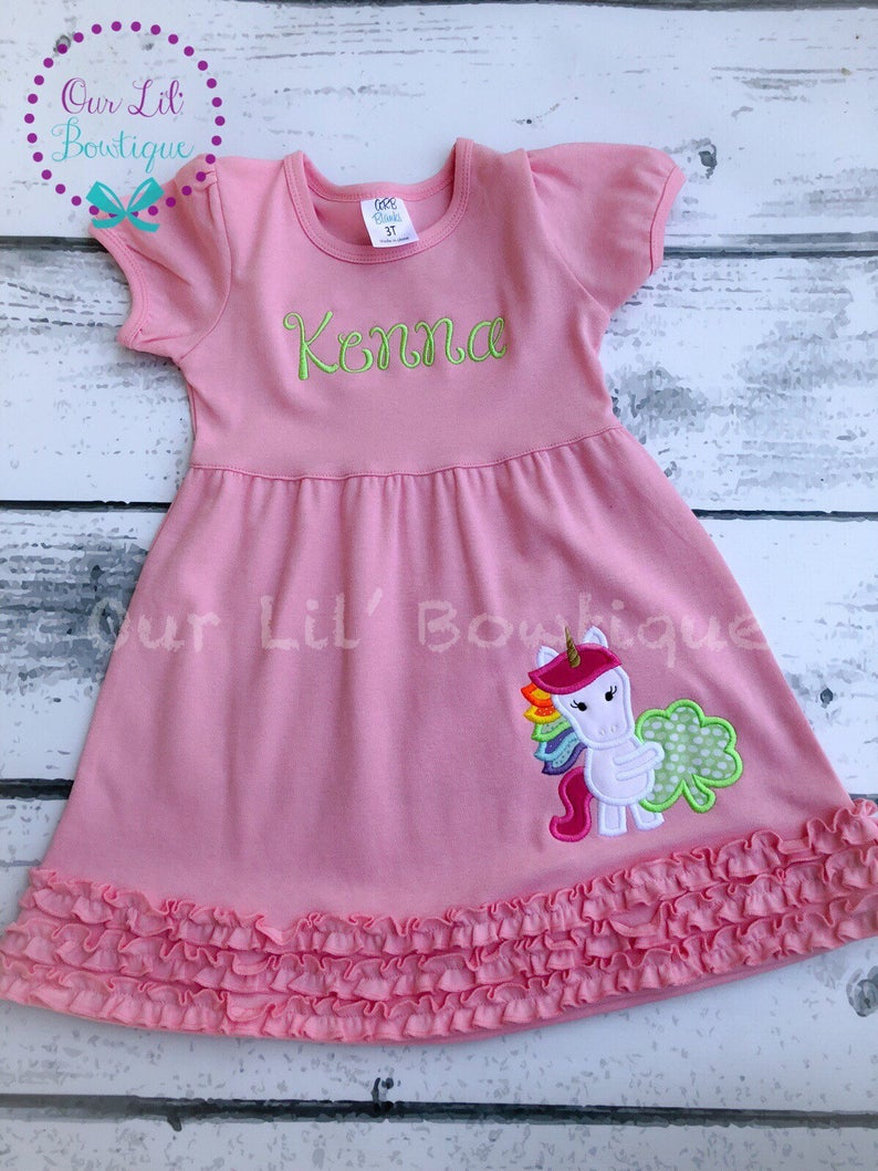 Personalized Unicorn Shamrock Dress