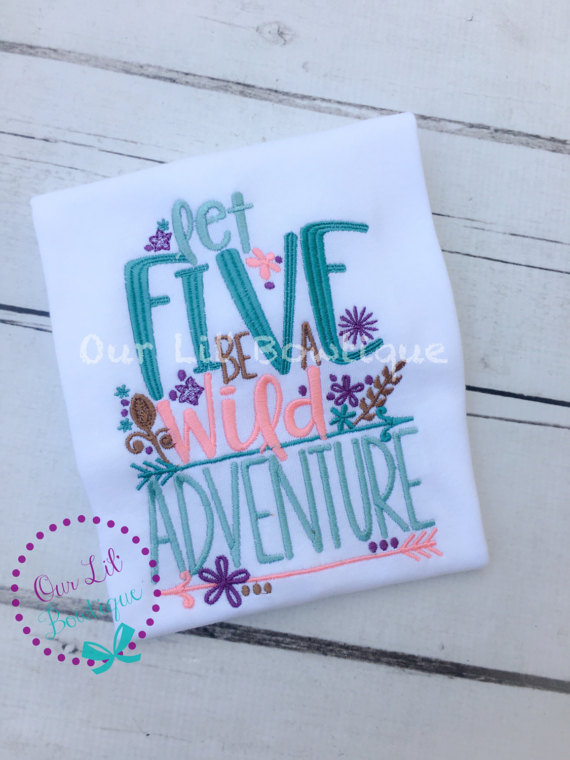 Let Five Be A Wild Adventure - Wild and Five Birthday Shirt- Personalized Birthday - Personalized - Birthday Shirt - 5th Birthday Shirt